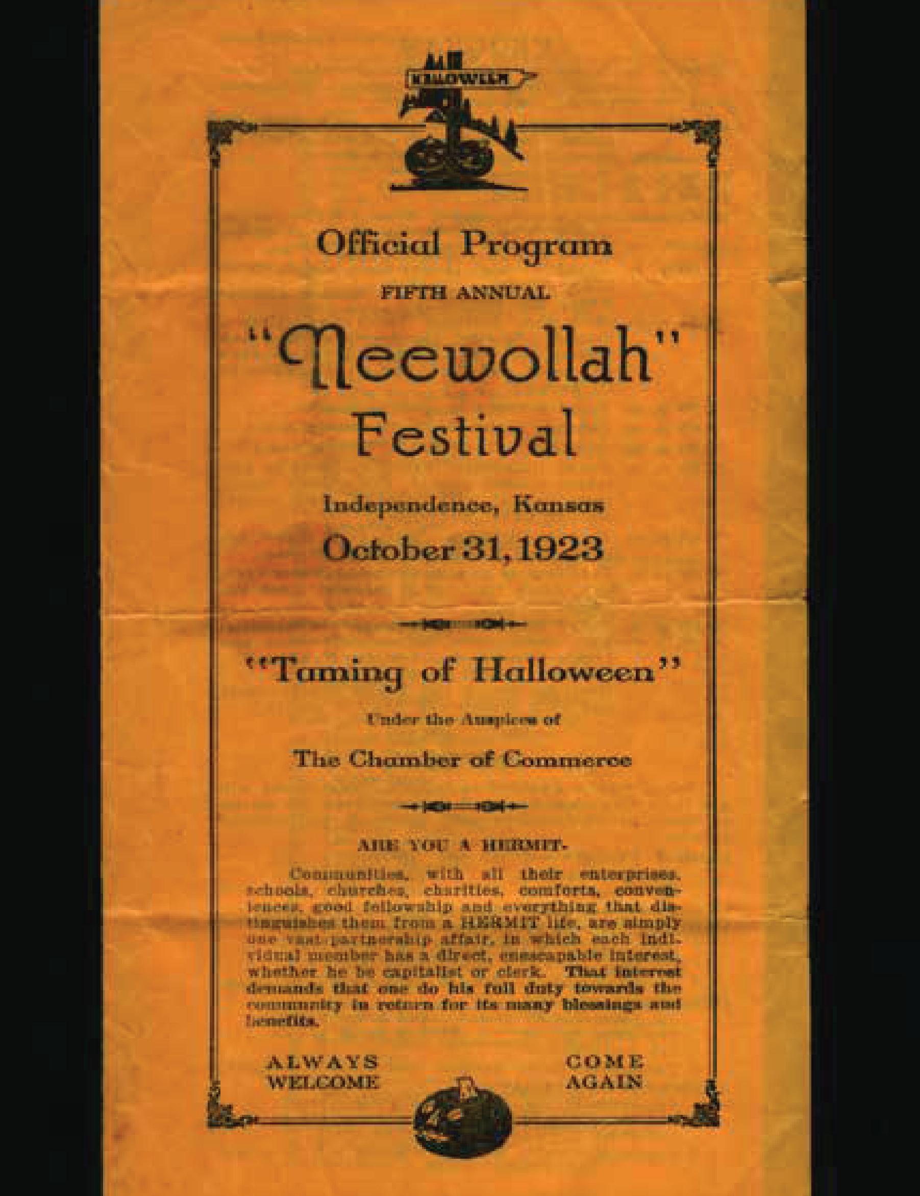 Neewollah 1923 Taming of Halloween